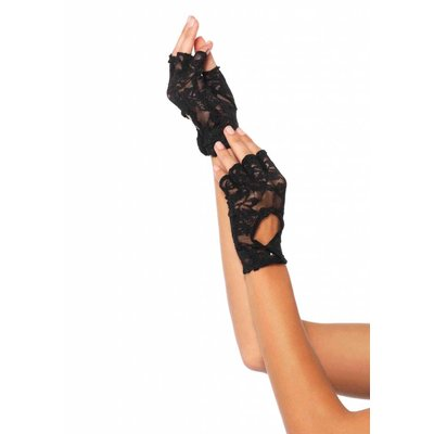 Leg Avenue Lace Keyhole Fingerless Gloves - Black