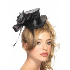 Leg Avenue Satin Mini Top Hat with Flower & Bow