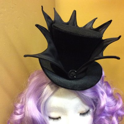 Wicked Mini Top Hat - Black on Black