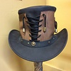 Golden Steam 2 Color Lace Up Leather Hat