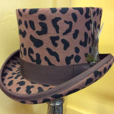 Wool Felt Animal Print Top Hat, M