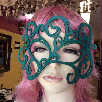 "Tom Banwell Designs ""Swirly"" Leather Mask in Teal"