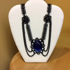 Blue Cabochon w/ Draped Black Choker