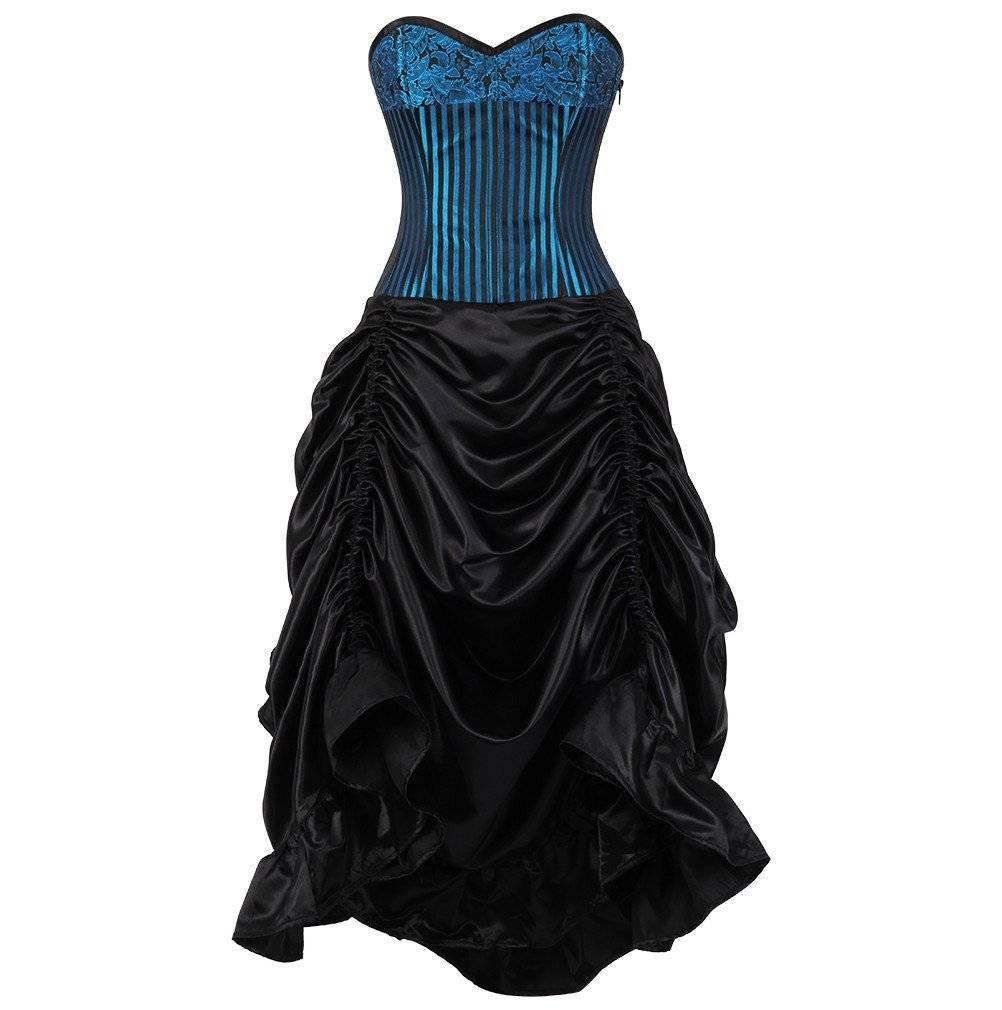 Lucrece Turquoise Brocade Black Satin Cinch Corset Dress - Subspace