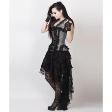 Vintage Goth Victorian Inspired Silver Corset Dress