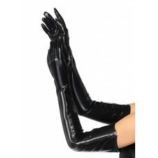 Leg Avenue Wet Look Opera Length Zipper Gloves