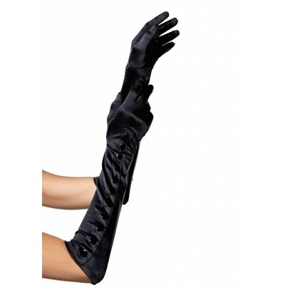 Leg Avenue Black Satin Gloves w/ Snap Buttons