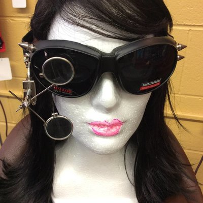 Black Goggles w/ 2x Loupe & Spikes (#228)