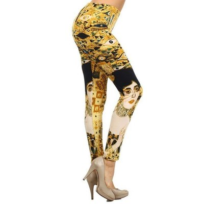 Yelete Yellow Eye (Klimt) Printed Leggings - One Size