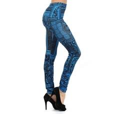 Blue Bandana Printed Leggings - One Size