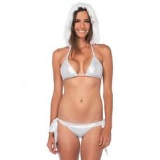Leg Avenue 3 Pc Techno Dot White/Silver Bikini w/ Hood
