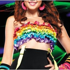 Leg Avenue Satin Ribbon Rainbow Ruffle Tube Top