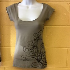Offrandes Laced Back T w/ Cap Sleeve Grey w/ Print M/L