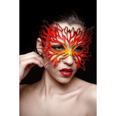 Tom Banwell Designs Flame Mask in Leather Oranges & Black