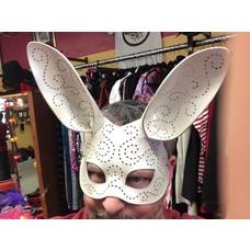 Tom Banwell Designs Tatted Bunny Leather Mask in Pearl White