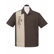 Steady Mai Tai Mirage Button Up in Coffee