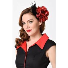 Unique Vintage Red Rose & Black Feather Hair Clip