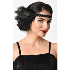 Unique Vintage Black Peacock Feather & Beaded Stretch Headband