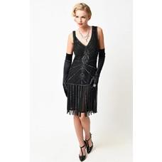 Unique Vintage Aelita Deco Black Beaded Fringe Flapper Dress