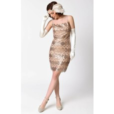 Unique Vintage Clifton Bronze Geometric Sequin Deco Flapper Dress