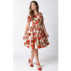 Unique Vintage Roman Holiday White & Red Short-Sleeved Swing Dress