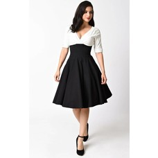 Unique Vintage Delores 50's Style Black & White Swing Dress