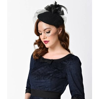 Unique Vintage Black Wool & Feathered Bow Netted Fascinator