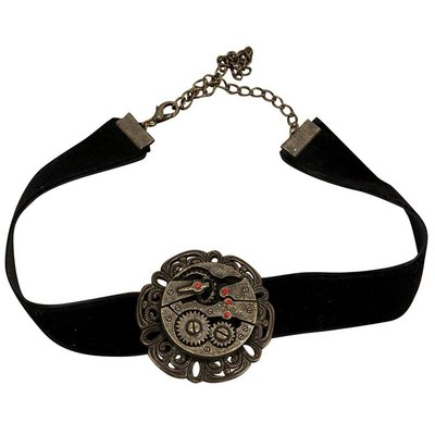 Elope Black Velvet Antique Gear Choker