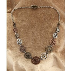 Elope Single Chain Gears Necklace Antique