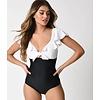 Unique Vintage Monaco Black & White Ruffle Swimsuit