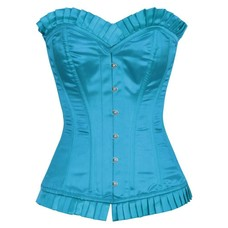 Vintage Goth Halifrid Turquoise Satin Burlesque Overbust 3X (32)