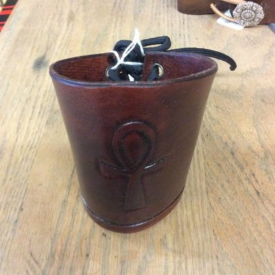 Ankh Brown Leather Cuff