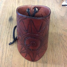 Compass Rose Brown Leather Cuff