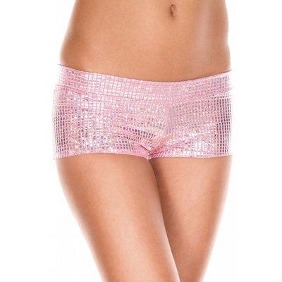 Music Legs Metallic Pink Square Pattern Booty Shorts
