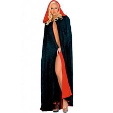 Music Legs Reversible Velour Full Length Cape  Black/Red