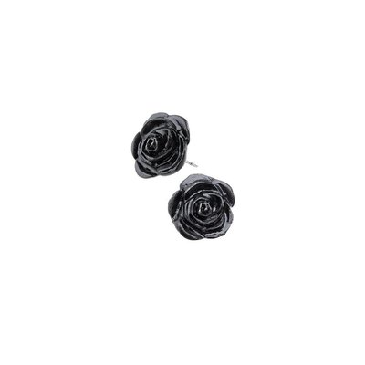 Alchemy England 1977 Black Rose Stud Earrings