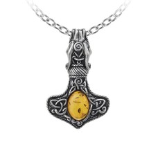 Alchemy England 1977 Amber Dragon Thorhammer Pendant