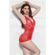 Yelete Fishnet Body Stocking Banded Diamonds Red
