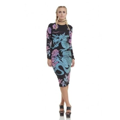 Jawbreaker Dark Dragon Long Sleeve Bodycon Dress XL