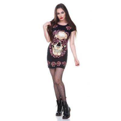Jawbreaker Sugar Skull & Roses Tee Dress