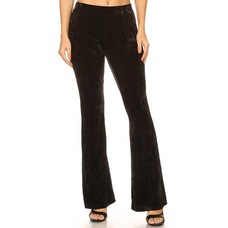 Yelete Black Icy Velvet Flare Pants