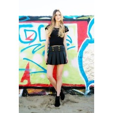 Yelete Skater Skort With Pleats and Gold Buttons