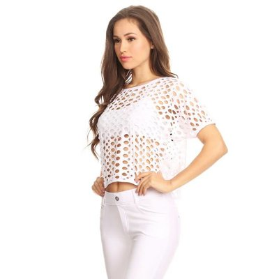 Yelete Short Sleeve Crop Top with Hole Details, White