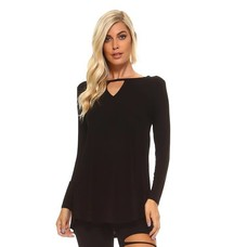 Yelete Long Sleeve Crew-Neck Tunic, Black