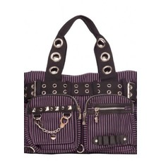 Jawbreaker Purple Stripe Multi Pocket Tote Bag With Grommets