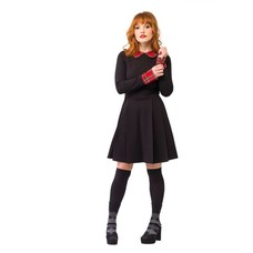 Smak Parlour Black Ponte Long Sleeve Dress w/ Red Tartan