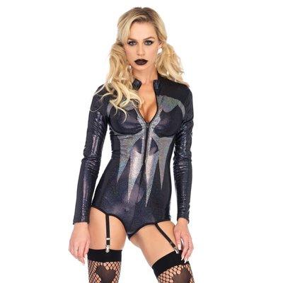 Leg Avenue Shimmer Iridescent Skull Garter Bodysuit