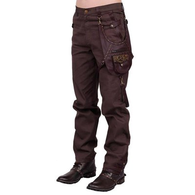 Vintage Goth Steampunk Men's Brown Cotton Trouser
