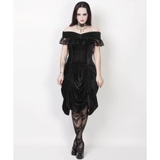 Vintage Goth Burlesque Black Velvet Shoulder Drape Dress