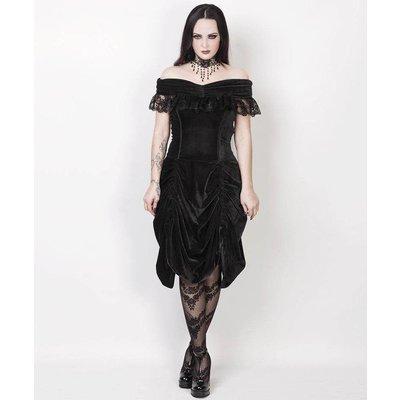 Vintage Goth Burlesque Black Velvet Shoulder Drape Dress